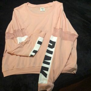 PINK Drop Shoulder Crop Crew Tee
